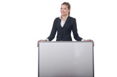 Woman businesswoman with blank board Royalty Free Stock Image