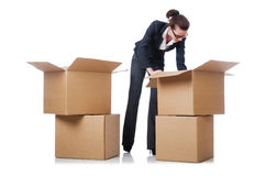 Woman businesswoman with boxes Royalty Free Stock Photo
