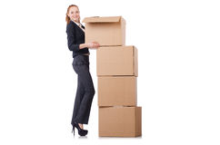 Woman businesswoman with boxes Stock Image