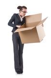 Woman businesswoman with boxes Stock Photo