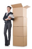 Woman businesswoman with boxes Stock Photos