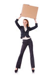 Woman businesswoman with boxes Royalty Free Stock Photos