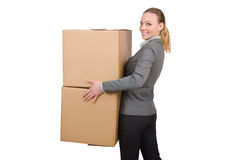 Woman businesswoman with boxes Stock Photography