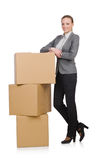 Woman businesswoman with boxes Royalty Free Stock Photography