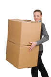 Woman businesswoman with boxes Royalty Free Stock Images