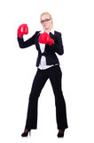 Woman businesswoman with boxing gloves Stock Images