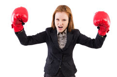 Woman businesswoman with boxing gloves Royalty Free Stock Photo