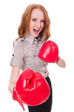 Woman businesswoman with boxing gloves Royalty Free Stock Photos