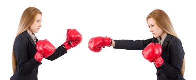 Woman businesswoman with boxing gloves on white Royalty Free Stock Image