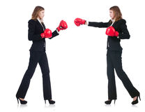 The woman businesswoman with boxing gloves on Stock Images