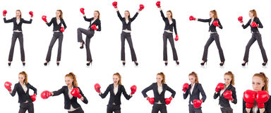 The woman businesswoman with boxing gloves on white Stock Image