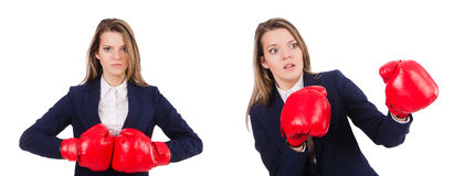 The woman businesswoman with boxing gloves on white Royalty Free Stock Photo