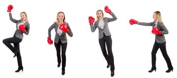The woman businesswoman with boxing gloves on white Royalty Free Stock Photos