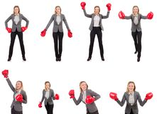 The woman businesswoman with boxing gloves on white Royalty Free Stock Images