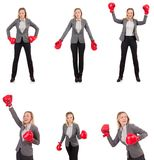 The woman businesswoman with boxing gloves on white Stock Images