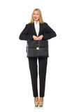 The woman businesswoman with briefcase isolated on Royalty Free Stock Photography