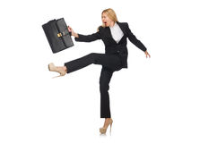 The woman businesswoman with briefcase isolated on Stock Photography