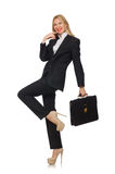 Woman businesswoman with briefcase isolated on Royalty Free Stock Photo