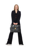 Woman businesswoman with briefcase isolated on Stock Photography