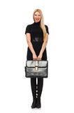 Woman businesswoman with briefcase isolated on Stock Images