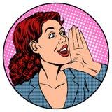 Woman businesswoman calling advertises agitates royalty free illustration