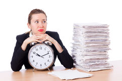 Woman businesswoman with clock Royalty Free Stock Images