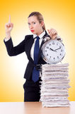 Woman businesswoman with clock Royalty Free Stock Photos