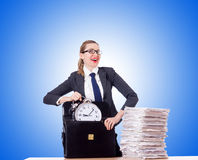 Woman businesswoman with clock and papers Royalty Free Stock Photography