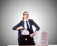 Woman businesswoman with clock and papers Stock Image