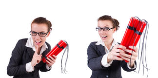 The woman businesswoman with dynamite stick isolated on white Stock Photo