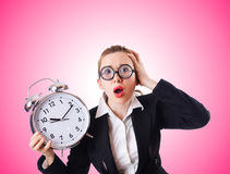 Woman businesswoman with giant clock Royalty Free Stock Photo