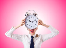 Woman businesswoman with giant clock Royalty Free Stock Photos