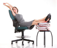 Woman work stoppage businesswoman relaxing legs up plenty of doc Royalty Free Stock Image