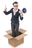 Woman businesswoman. With loudspeaker inthe box Stock Photo