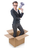 Woman businesswoman. With loudspeaker inthe box Stock Photography