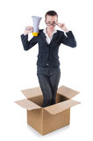 Woman businesswoman. With loudspeaker inthe box Royalty Free Stock Photography