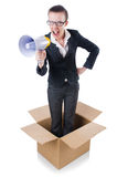 Woman businesswoman. With loudspeaker inthe box Royalty Free Stock Photo