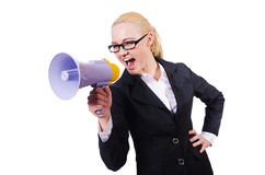Woman businesswoman with loudspeaker. On white Stock Photography