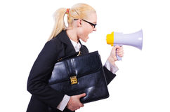 Woman businesswoman with loudspeaker. On white Royalty Free Stock Images