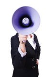 Woman businesswoman with loudspeaker. On white Royalty Free Stock Photography