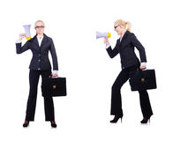 The woman businesswoman with loudspeaker on white Royalty Free Stock Photography