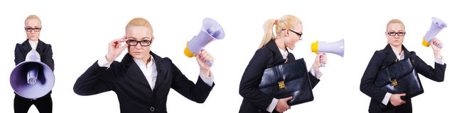 The woman businesswoman with loudspeaker on white Royalty Free Stock Image