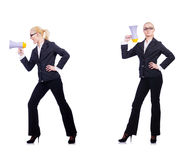 The woman businesswoman with loudspeaker on white. Woman businesswoman with loudspeaker on white Stock Photo