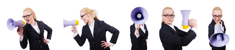 The woman businesswoman with loudspeaker on white. Woman businesswoman with loudspeaker on white Stock Images