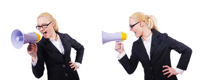 The woman businesswoman with loudspeaker on white. Woman businesswoman with loudspeaker on white Stock Image