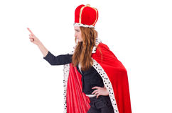 Woman businesswoman posing as queen isolated. On white Stock Photo