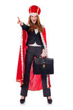 Woman businesswoman posing as queen isolated Royalty Free Stock Photo