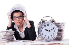 Woman businesswoman under stress missing. Her deadlines Royalty Free Stock Photos