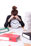 Woman businesswoman under stress missing Royalty Free Stock Image