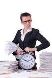 Woman businesswoman under stress missing Stock Photo